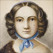 Antique American Folk Art Portrait - 19th C Watercolor of a Woman - Naive - Primitive - Americana