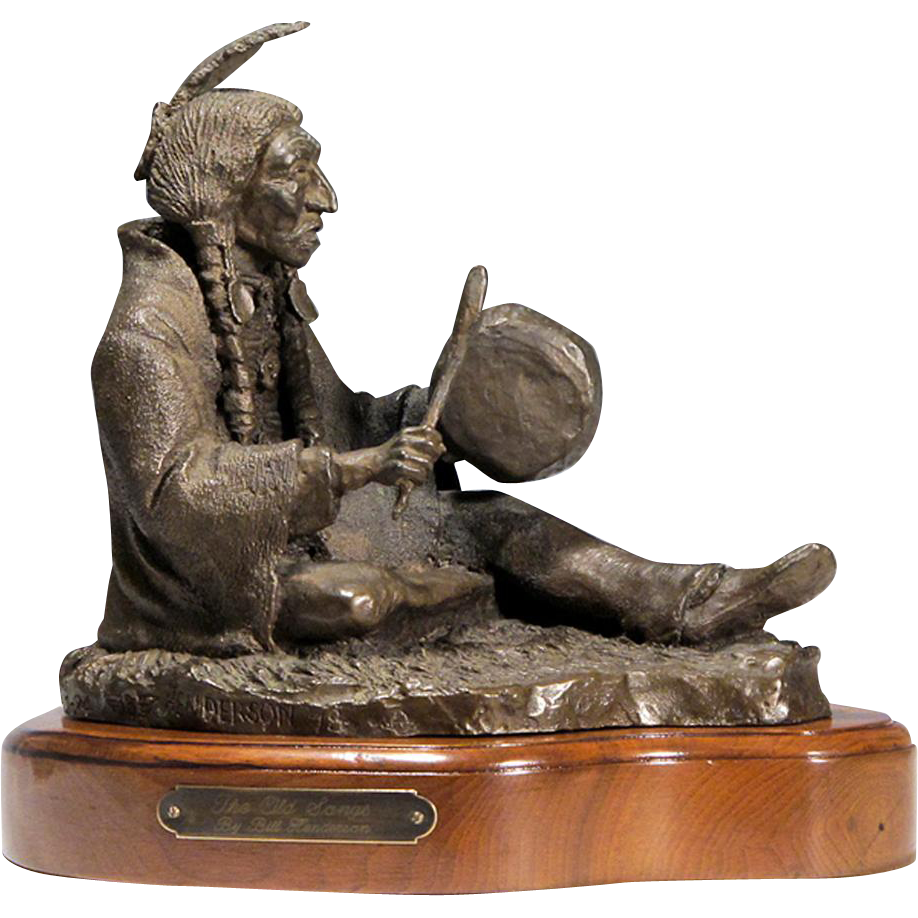 "Bill Henderson - Bronze Native American Indian Sculpture - ""The Old Songs"""