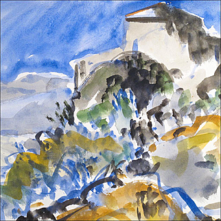 William Bartsch - Watercolor Painting of a Tuscan Landscape 1964