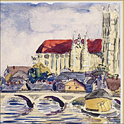 Karl Hahn - Watercolor Painting of Auxerre Cathedral in France on the River Yonne - 20th C