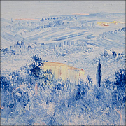 Fosco Fantone - Oil Painting on Wood - Tuscan Landscape - Blue Firenzen -Contemporary Italian Artist