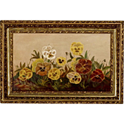 S B Rollins - Oil Painting on Board of Pansies in Original Ornate Victorian Frame - Still Life - Folk Art - Naive - Primitive