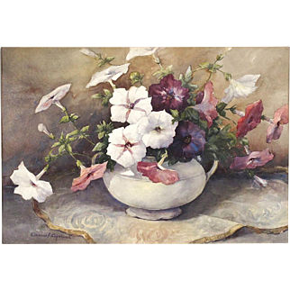 Eleanor Rogers Copeland - Still Life Watercolor Painting - Petunias