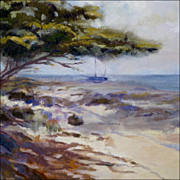 "H C Morgan - Oil on Canvas - ""Aruba"" Beach Scene with Boat - Nautical - Seascape"