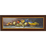 O. Arnold - Still Life Painting of Fruit in Yard Long Format - Antique American Pastel in Original Oak Frame