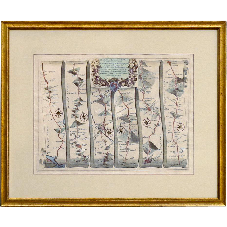 """Antique 17th C Map of the Road from Dartmouth to Minhead from the """"Britannia"""" by John Ogilby of London - 1675 - 1698"""
