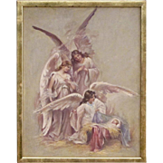 Marjorie Cooper - Oil Painting of Angels Greeting the Baby Jesus in the Manger