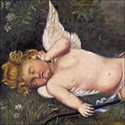 Antique Naive Oil Painting on Canvas after Perrault's 'Cupid Sleeping' - 19th C - Victorian - Primitive