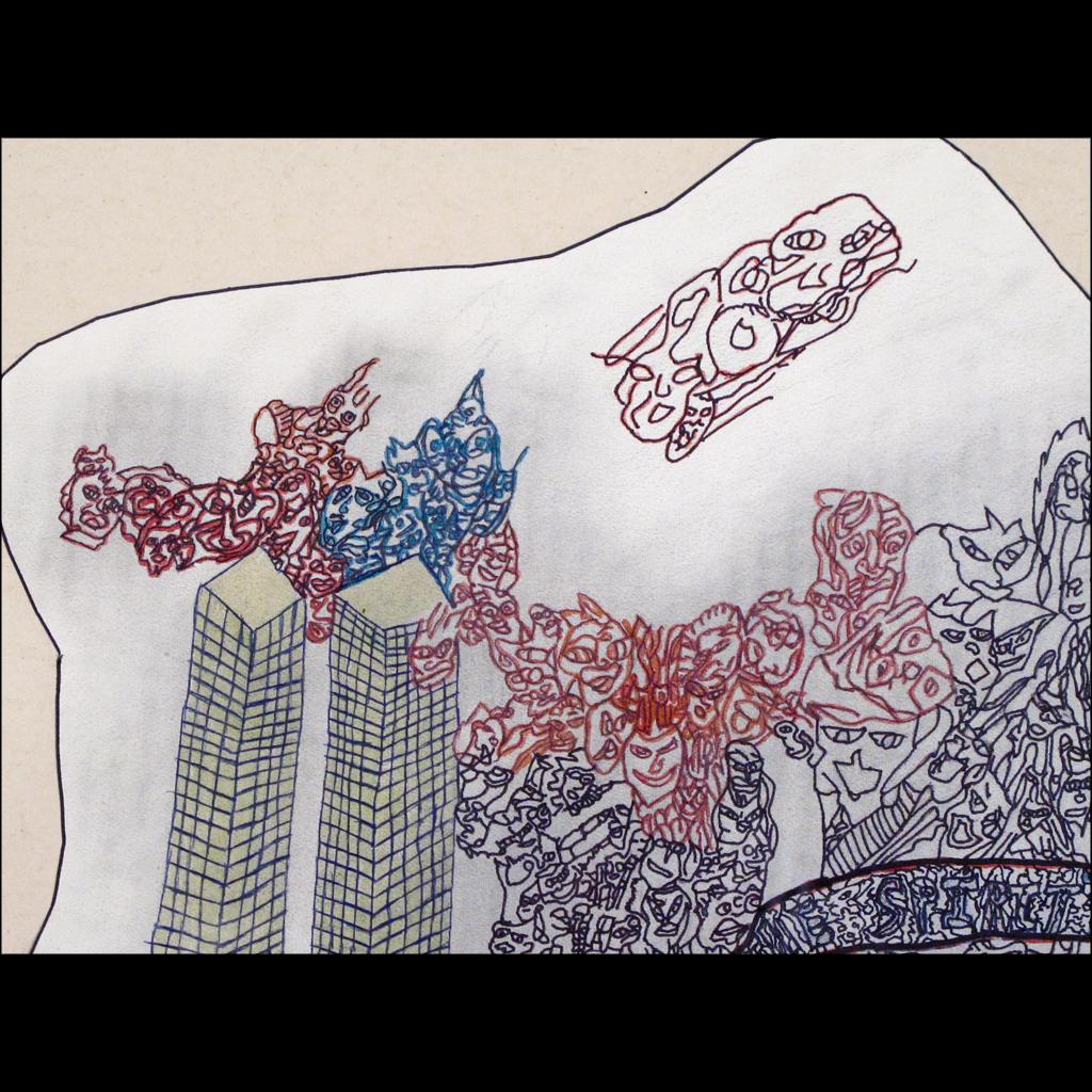 Rodger Fisher - Outsider Art Drawing of World Trade Center on 9-11 - Folk Art