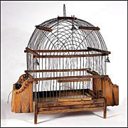 Antique American Pine & Wire Ware Bird Cage w/ Bells - Wireware - Folk Art - Americana - Naive - Primitive