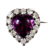 Heart of Purple Secrets - Antique Paste Brooch