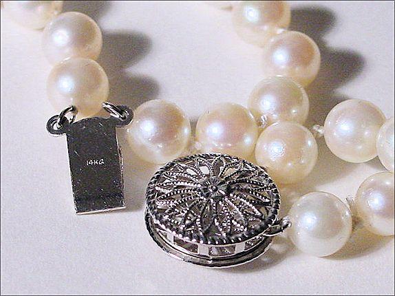 Double Strand Japanese Akoya Pearl Necklace 14k White