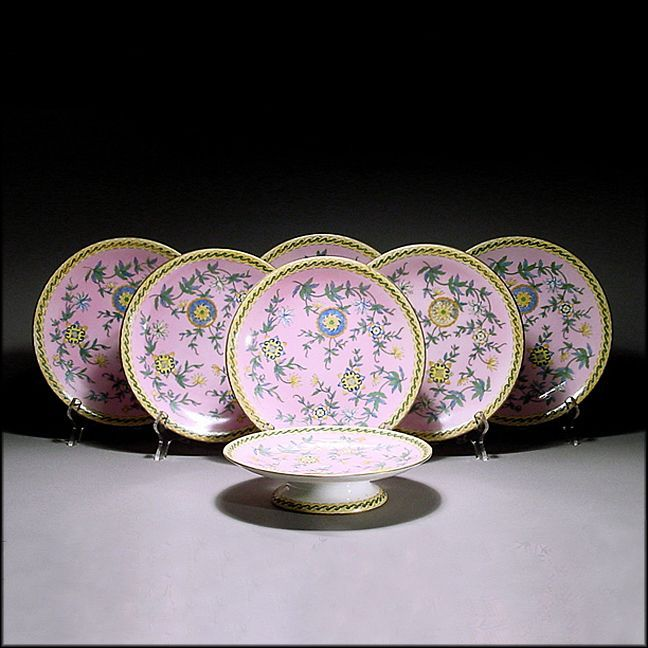 Antique 19th C Derby Crown Porcelain Dessert or Luncheon Set w/ 6 Plates & Compote / Comport / Tazza