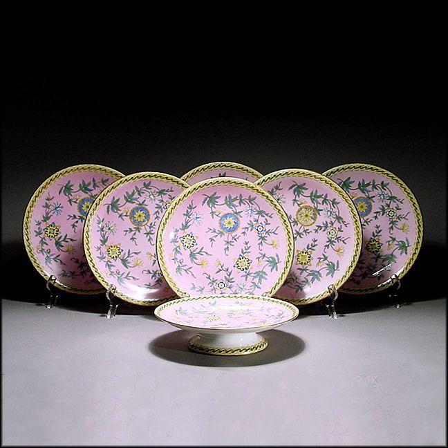 Antique 19th C Derby Crown Porcelain Dessert or Luncheon Set w/ 6 Plates & Compote / Comport / Tazza