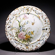 French Tin Glaze Faience Charger w/ Insects - Antique - Hand Painted - Tin Glazed - Plate - Platter