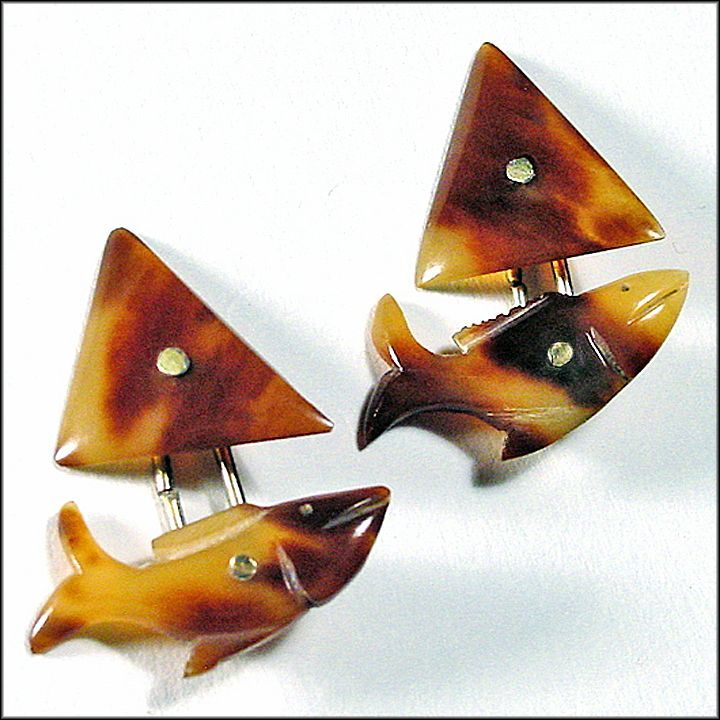 Fish Shaped Cufflinks Hand Carved of Horn - Cuff Links