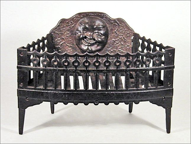 Antique Cast Iron Fireplace Grate Insert For Wood Or Coal W
