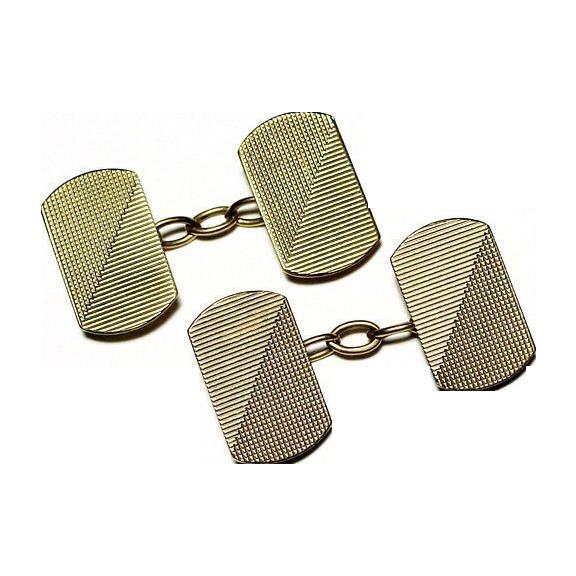 Solid 9K Gold Art Deco Double Sided Cufflinks - Mid Century Look - 1930's British Hallmarks - Cuff Links - Men's Fine Jewelry