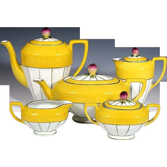 Czech Tea Service w/ Rosebud Finials - Hand Painted - Victoria China Czechoslovakia - 1918 - 1939