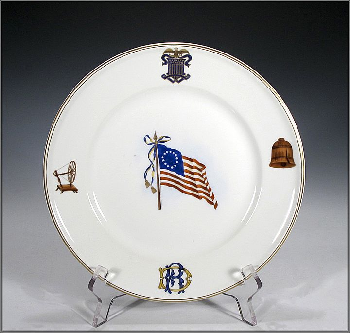 "Theodore Haviland ""Daughters of the Revolution"" American Flag Commemorative Plate - Americana"