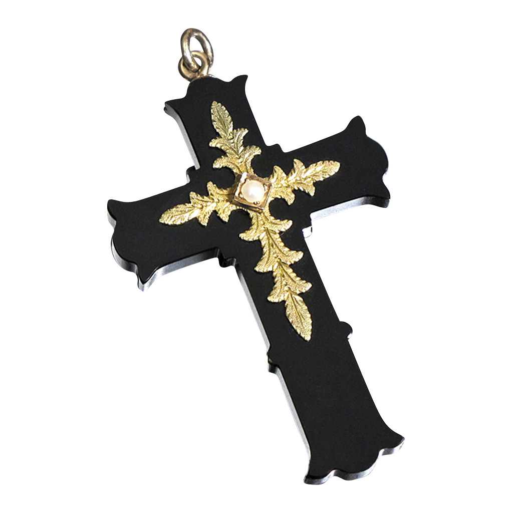 Victorian Onyx and 14K Gold Cross Pendant with Pearl
