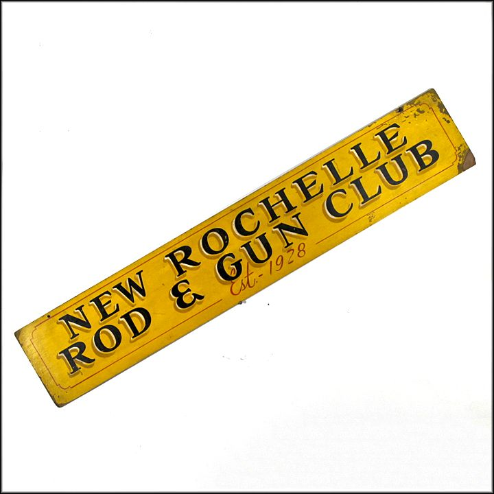 Vintage Folk Art Sign - Americana - New Rochelle Rod and Gun Club