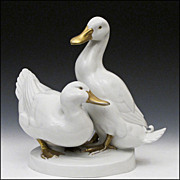 "Goebel Porcelain Sculpture of Ducks Signed ""Andersen"""