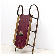 Antique Paris Cutter Sled from Maine in Original Red Paint with Swan - Sleigh - Folk Art - Primitives