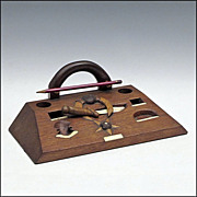 Folk Art Masonic Desk Set - Carved and Inlaid Wood