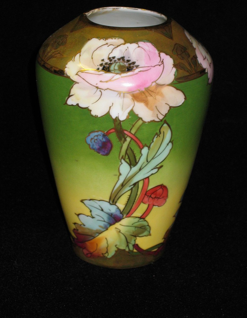 "Rare Hand Painted Brauer Vase ""Stylized Poppies"" Artist Signed CHALLINOR"