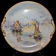 Large Hand Painted 'Venice Scene' Charger, Artist Signed- F. Groh