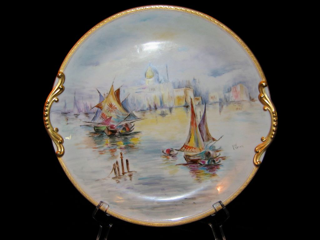 Large Hand Painted Venice Scene Charger Artist Signed