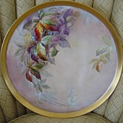 "Huge 16"" Hand Painted Limoges Tray with Colorful Leaves"