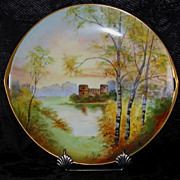 Pickard Hand Painted CASTLE SCENE Cake Plate, Artist signed COMYN
