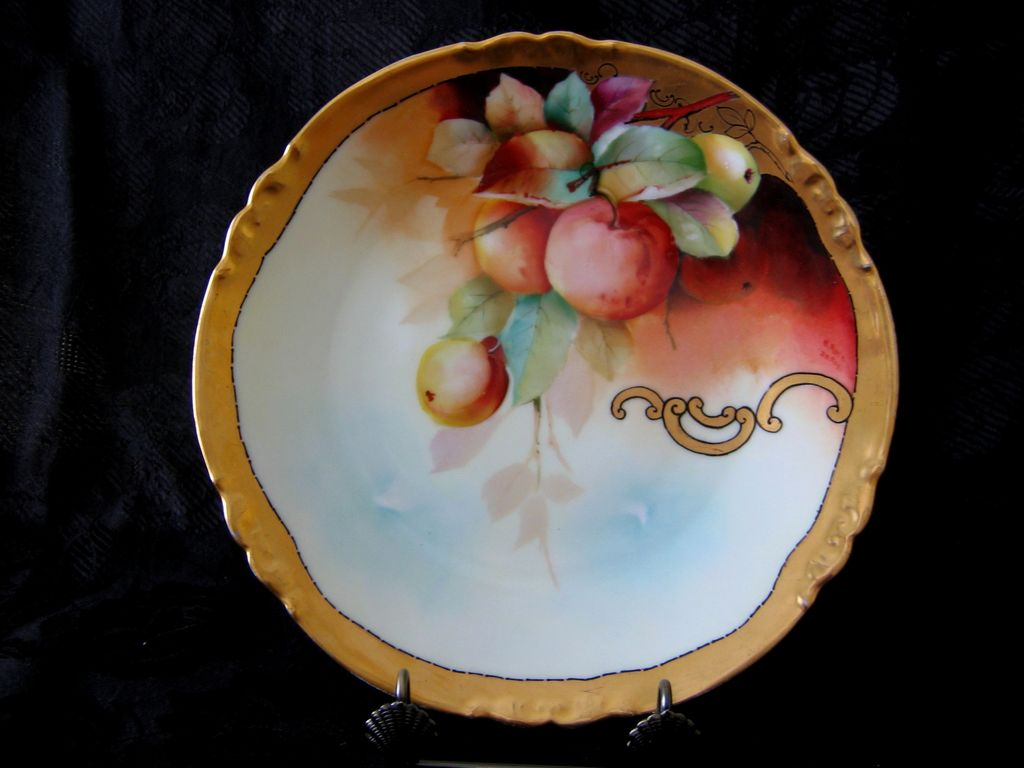 Hand Painted Limoges Plate- Apples - Donath Studio, Artist Signed M. Rost Leroy