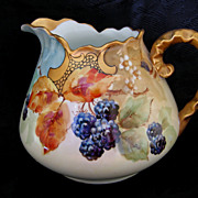 Hand Painted Bavarian Blackberries Cider or Lemonade Pitcher