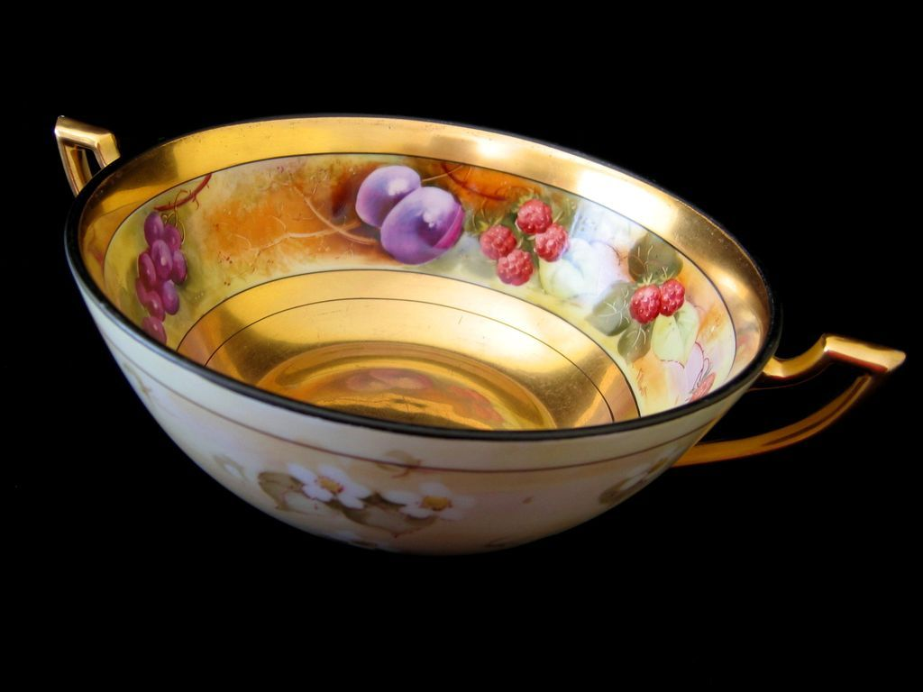 Hand Painted Pickard Handled Bowl, DESERTED GARDEN, signed by F. WALTERS