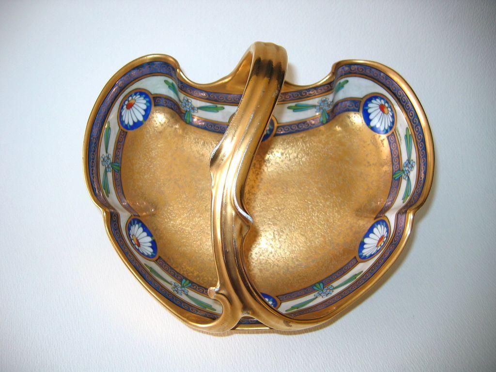 Hand Painted Basket-Handled Bowl 'ENCRUSTED LINEAR' - Signed OSBORNE
