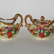 "Pickard Hand Painted Limoges Creamer and Sugar Bowl, ""Currants"" motif"