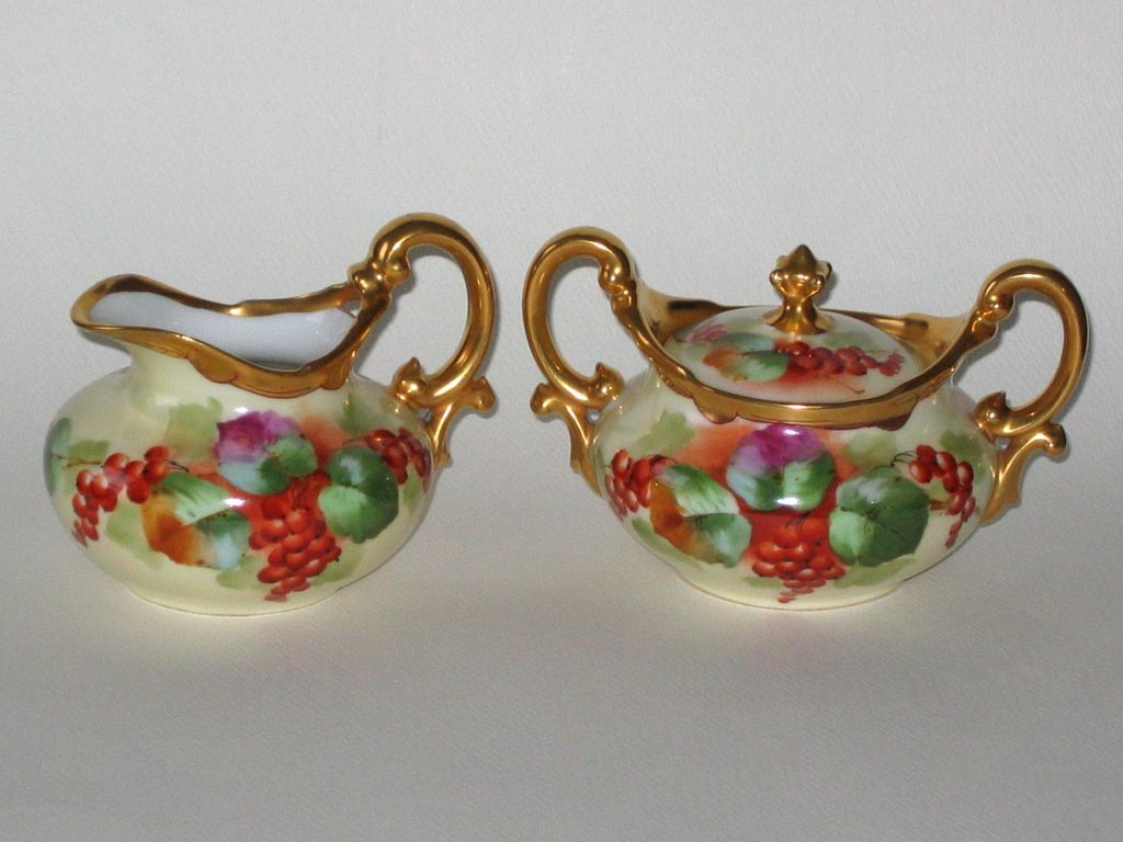 pickard hand painted limoges creamer and sugar bowl