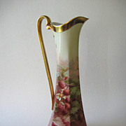 "LEYKAUF Signed Hand Painted Limoges Pitcher, ""Red Raspberries"""
