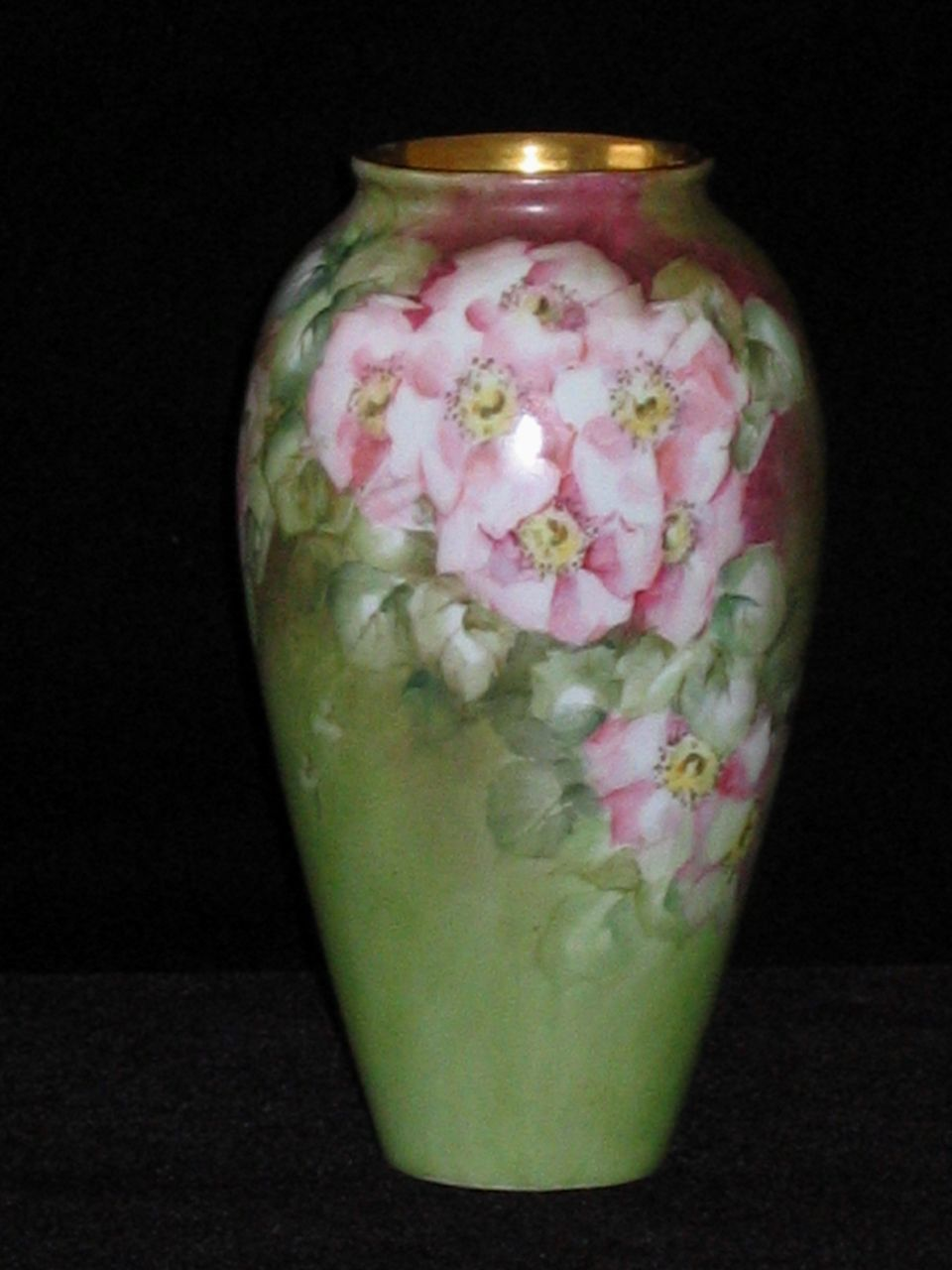 Hand Painted German Vase, WILD ROSES