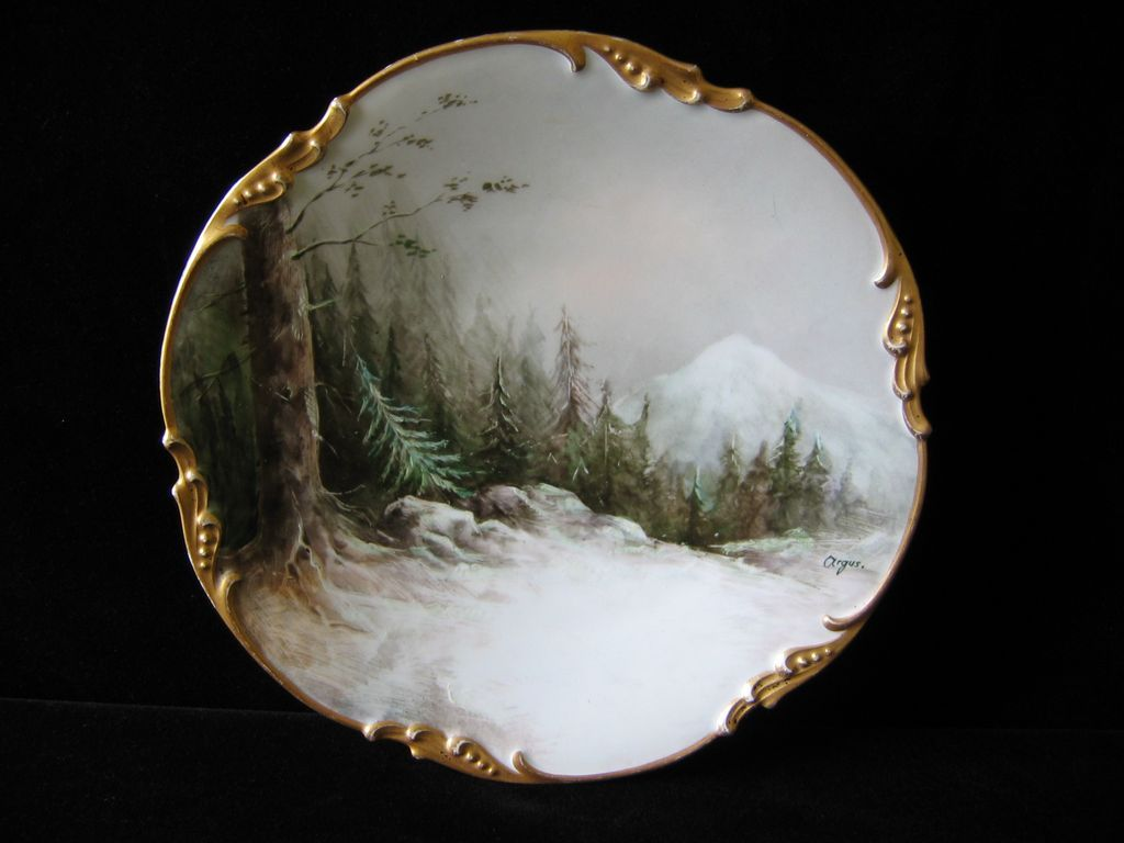 Hand Painted Limoges WINTER WOODS Plate, artist signed ARGUS
