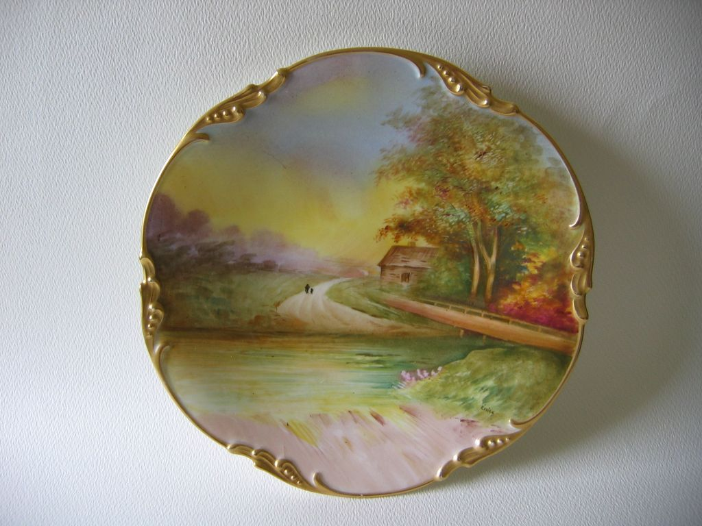 "Hand Painted Limoges Plate, ""COUNTRY WALK"" Scenic, signed EMILE"