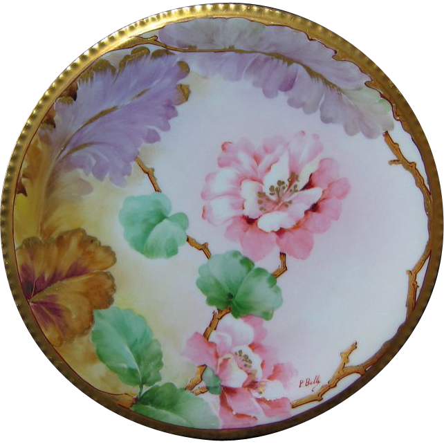 Hand Painted Ginori Italian Plate PINK BLOSSOMS Signed P.BELLI