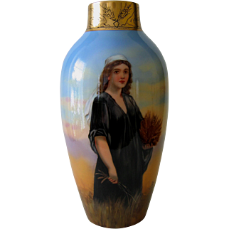 Hand Painted Vase, RUTH IN THE FIELDS OF BOAZ, Artist Signed K. RYBA