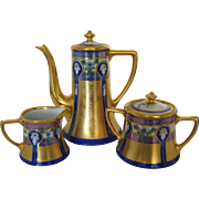 Pickard Hand Painted Coffee Set ENCRUSTED LINEAR