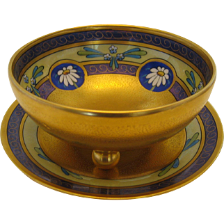 Pickard Hand Painted Ball-Footed Condiment Bowl and Underplate, ENCRUSTED LINEAR Pattern