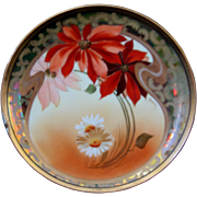 """Pickard Hand Painted 8-3/4"""" Plate, Poinsettias and Marguerites, signed Gasper"""