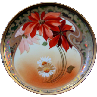 "Pickard Hand Painted 8-3/4"" Plate, Poinsettias and Marguerites, signed Gasper"